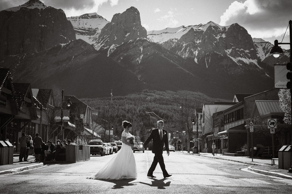Downtown Canmore wedding photos on Main Street