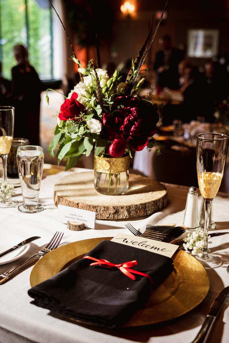 Wedding reception details at Banff Park Lodge