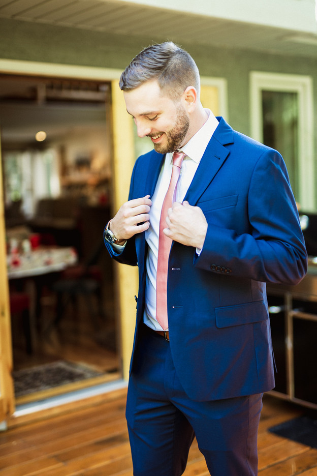Cornerstone Theatre wedding groom getting ready at airbnb