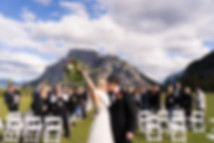 First kiss at tunnel mountain reservoir wedding