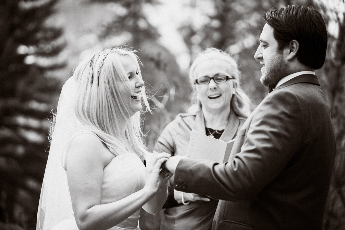 Candid moment of laughter at Banff elopement