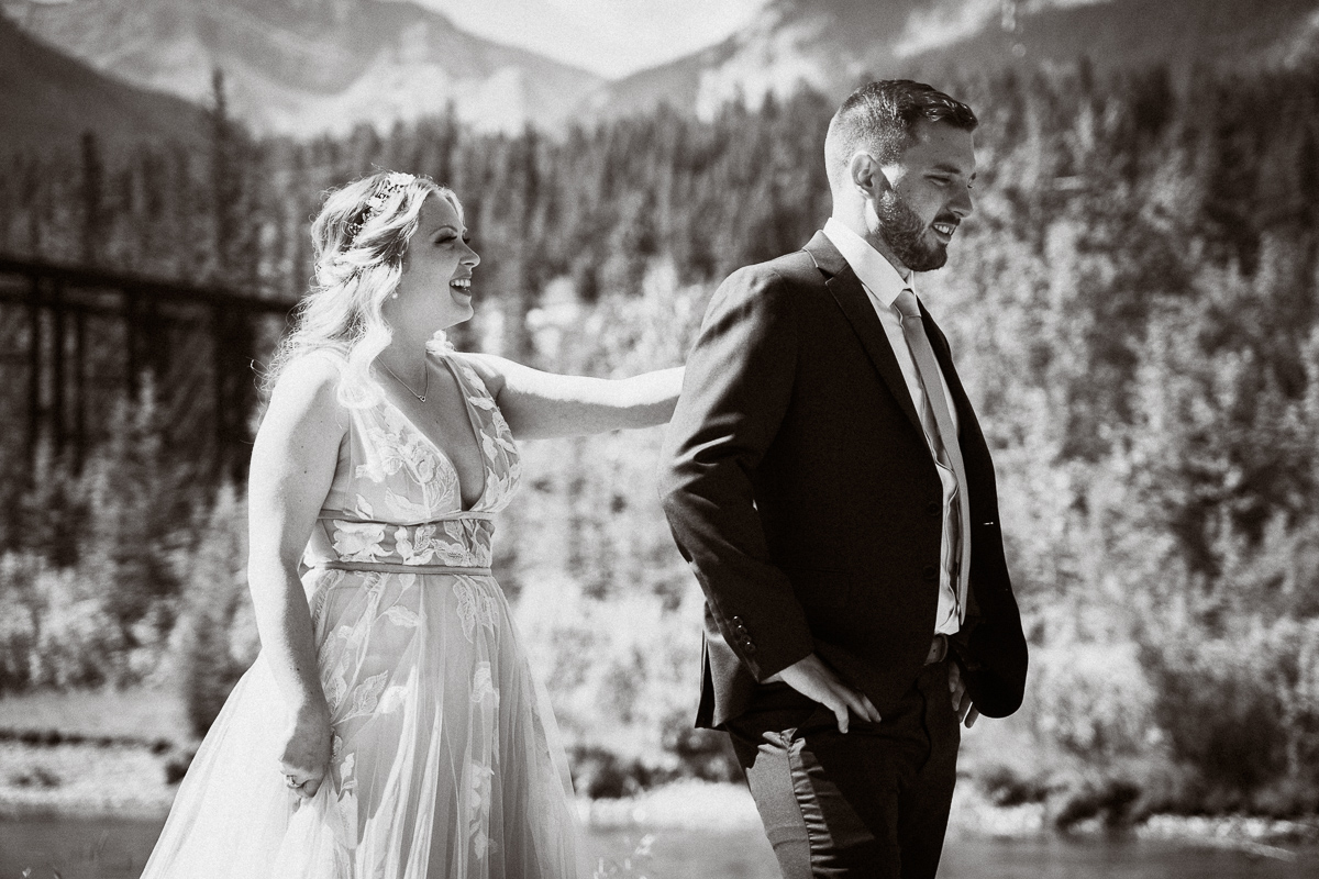 First look at Engine Bridge in Canmore by Cornerstone Theatre wedding photographer