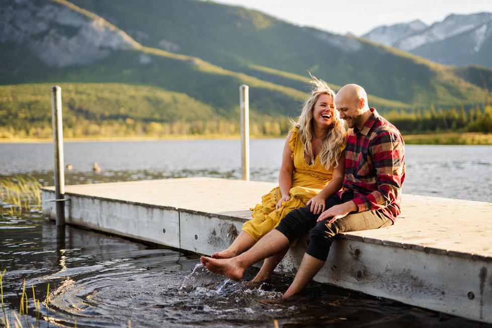 Banff lakeside engagement photos