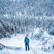 Banff wedding photographers rapelling ice climb