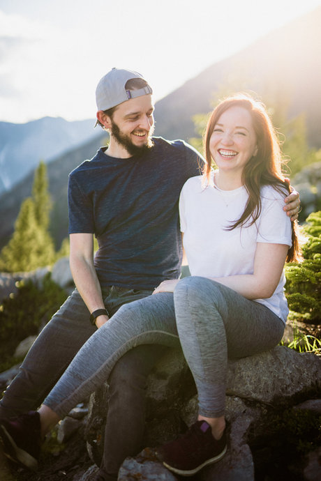 Candid engagement photos in Canmore and Banff