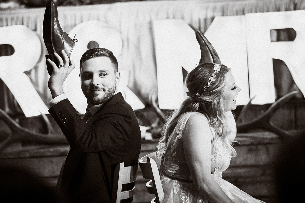 Wedding reception games at Cornerstone Theatre wedding