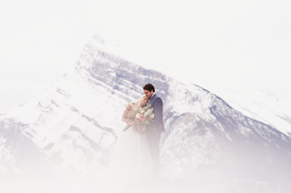 Cloudy misty Banff elopement photography at Mount Norquay