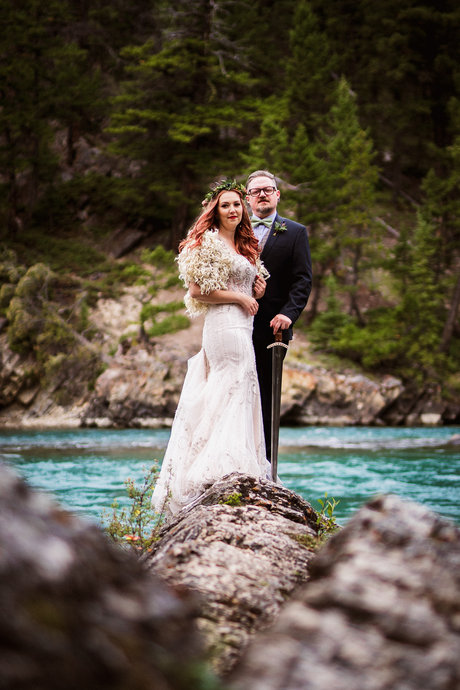 Banff wedding photography by the Bow River