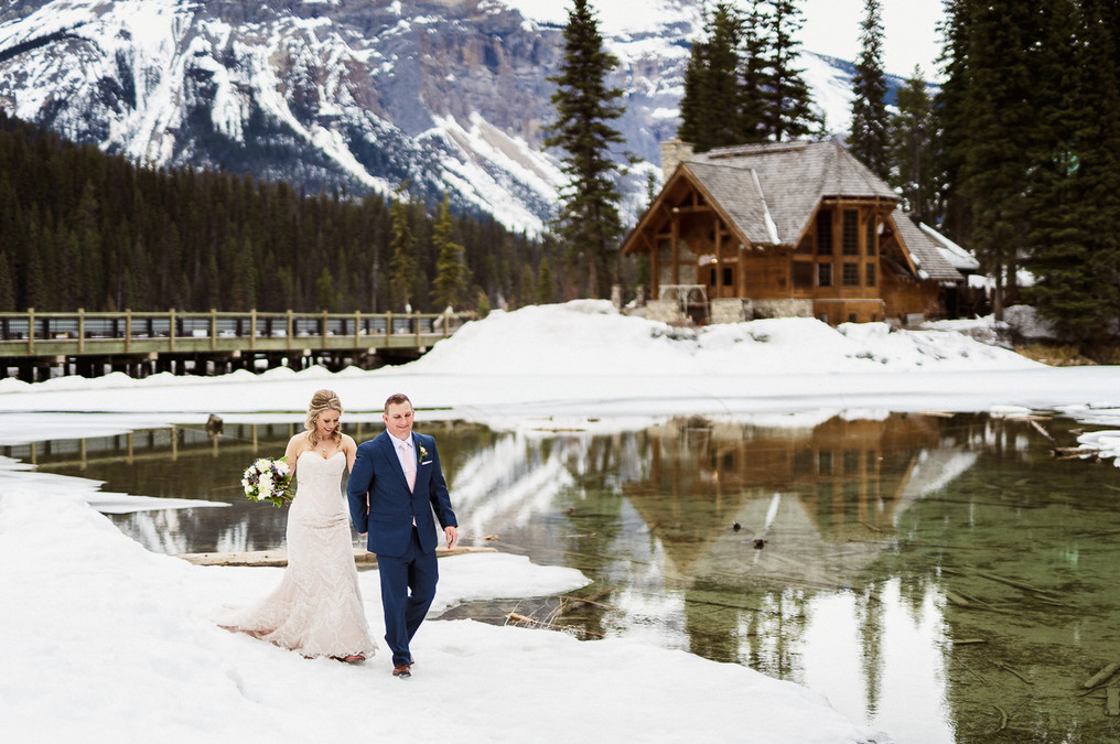 Casual stroll by the water at this Emerald Lake wedding
