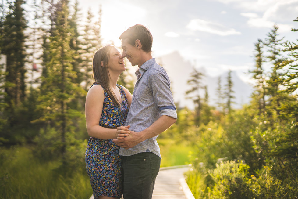 Canmore engagement photos near Policeman Creek