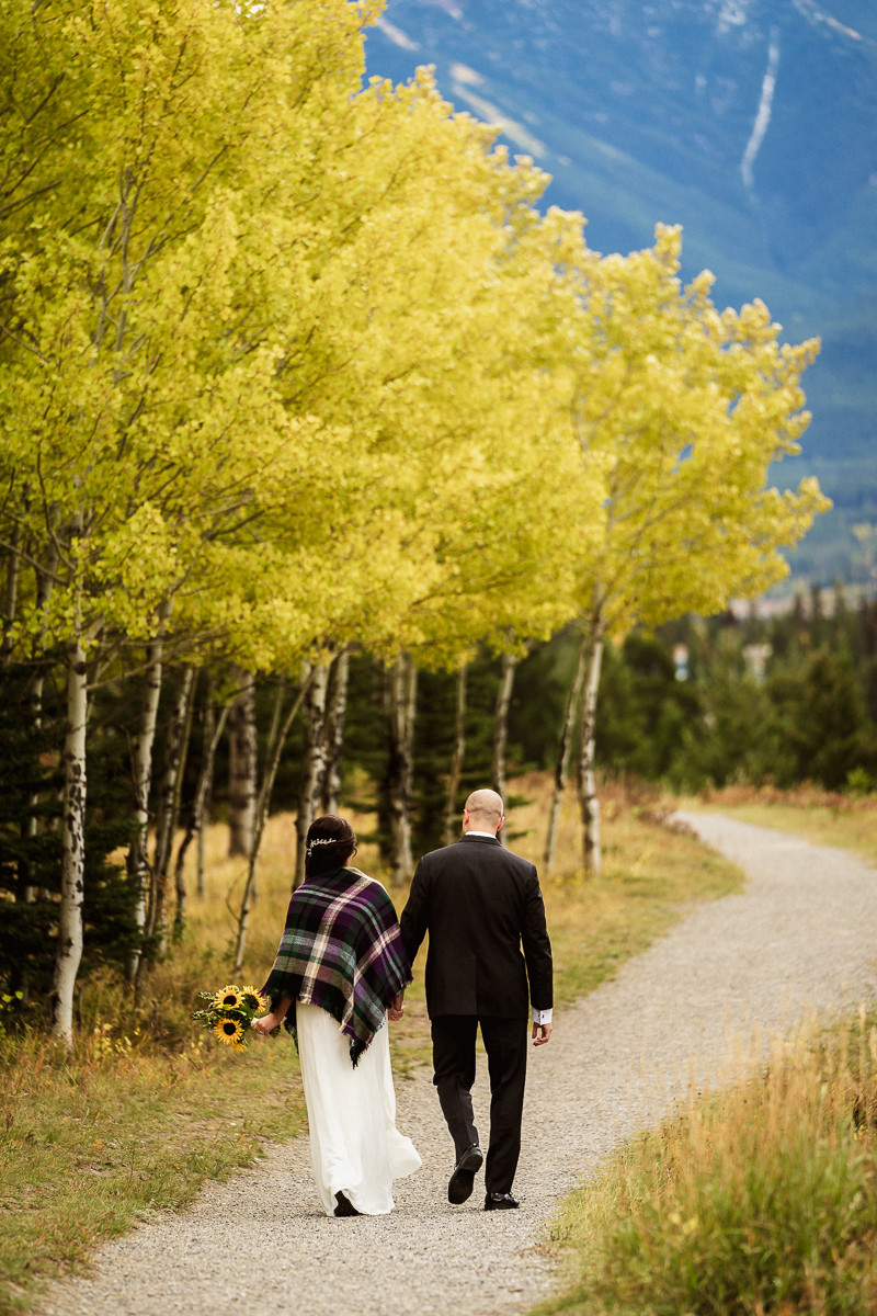 Beautiful Fall colours at a Canmore elopement