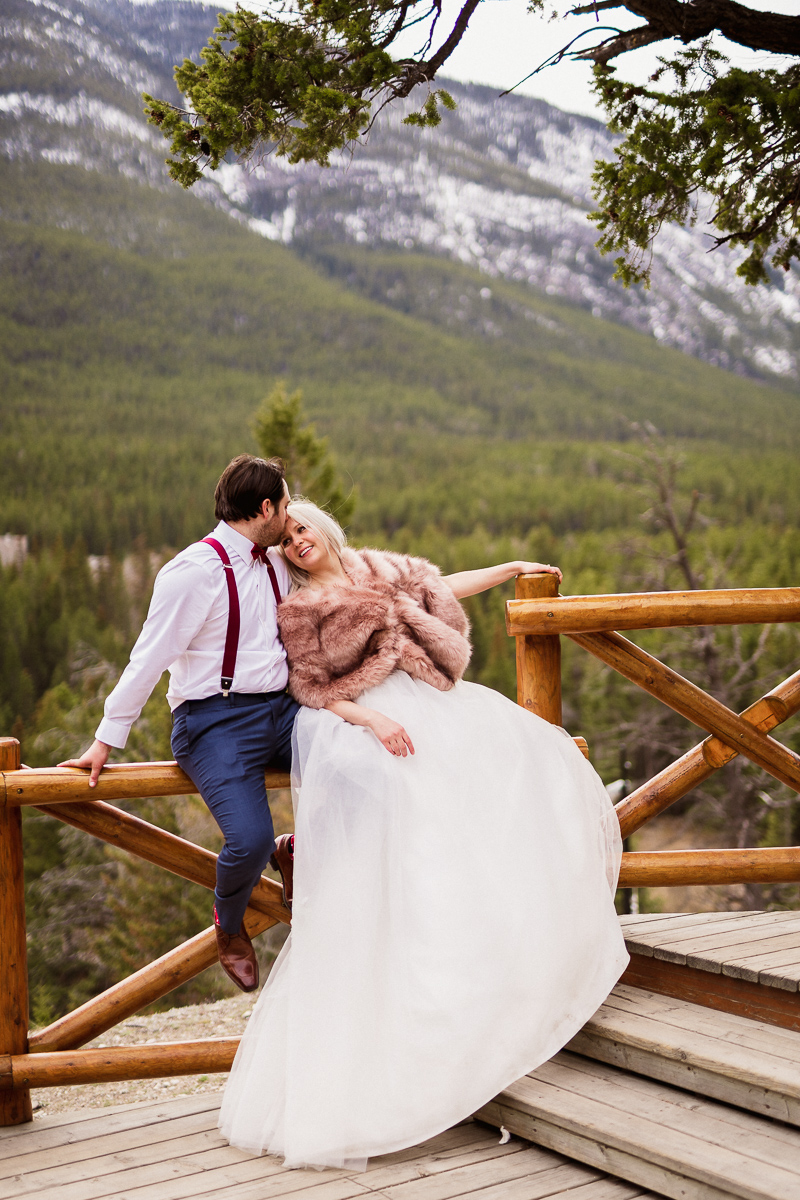 Candid moment at Surprise Corner for this Banff elopement