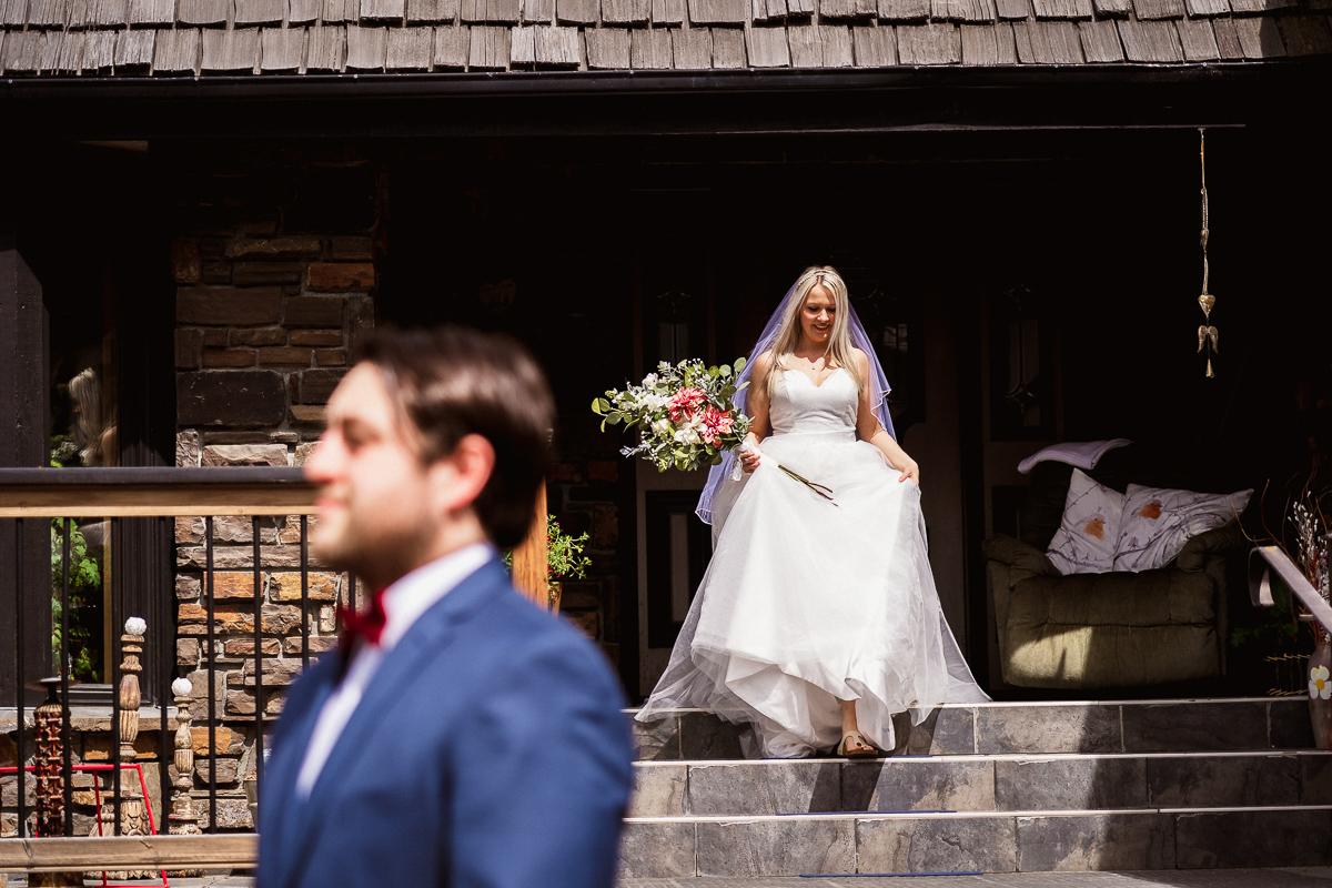 Banff elopement photography first look outdoors