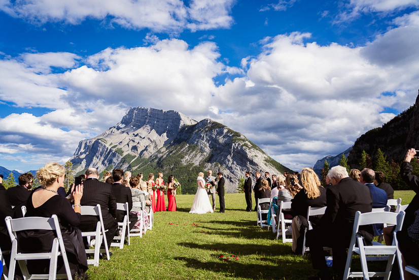 Banff wedding photographer at Tunnel Mountain wedding ceremony