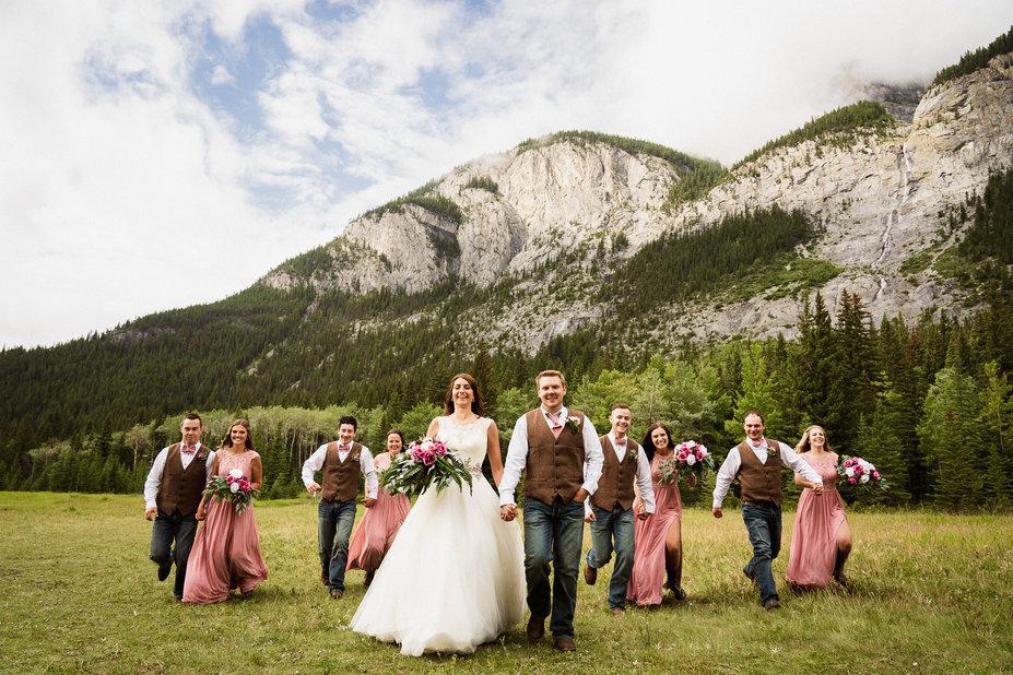Fun wedding photography in Banff