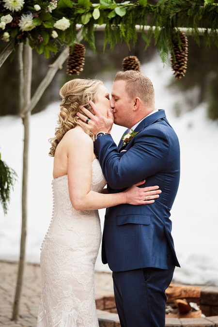 Emerald Lake wedding photographer and the first kiss