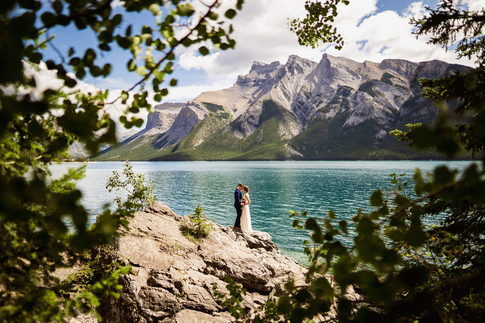 Lake Minnewanka, Banff wedding photos