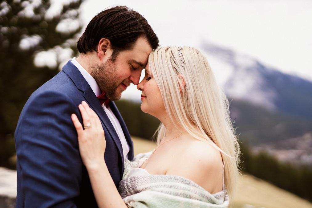 Banff elopement photographer at Mount Norquay Lookout