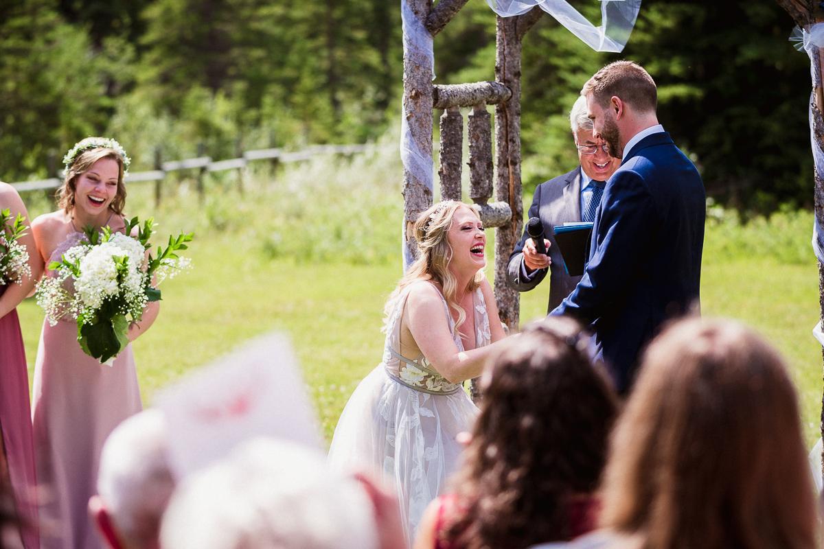 Funny wedding ceremony moment at Cornerstone Theatre wedding