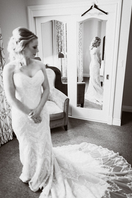 Candid photo of bride getting ready at Emerald Lake wedding