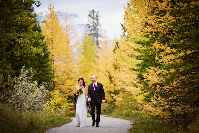 Fall elopement in Canmore with Larch trees and beautiful colours