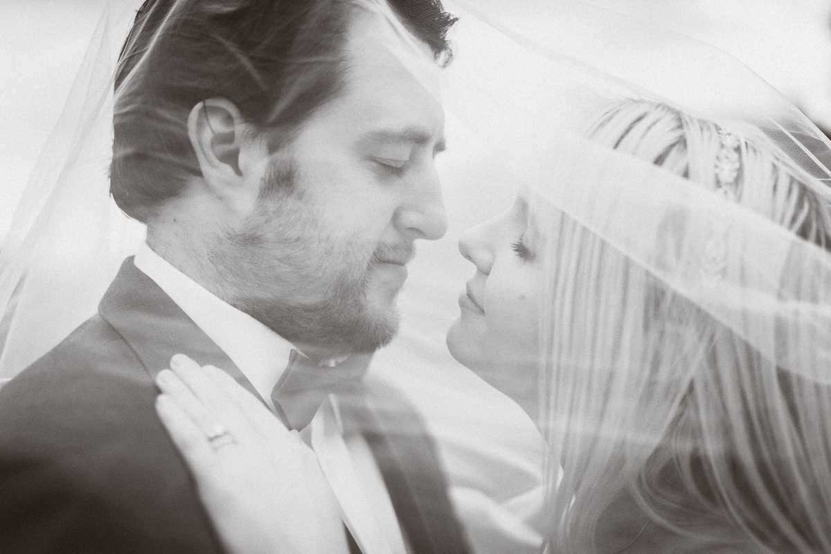 Intimate moment between bride and groom at Banff elopement