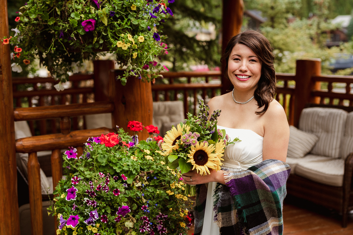 Bride at A Bear and Bison Inn elopement
