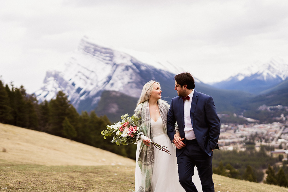 Banff elopement photography in spring at Mount Norquay Lookout