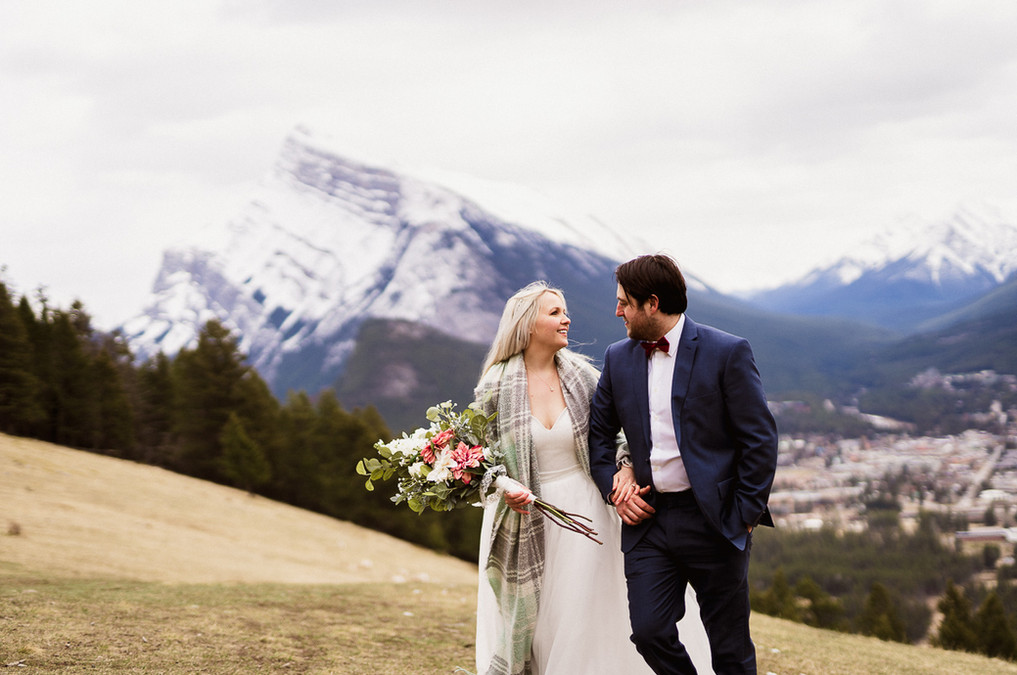 Overlooking Banff after Banff elopement