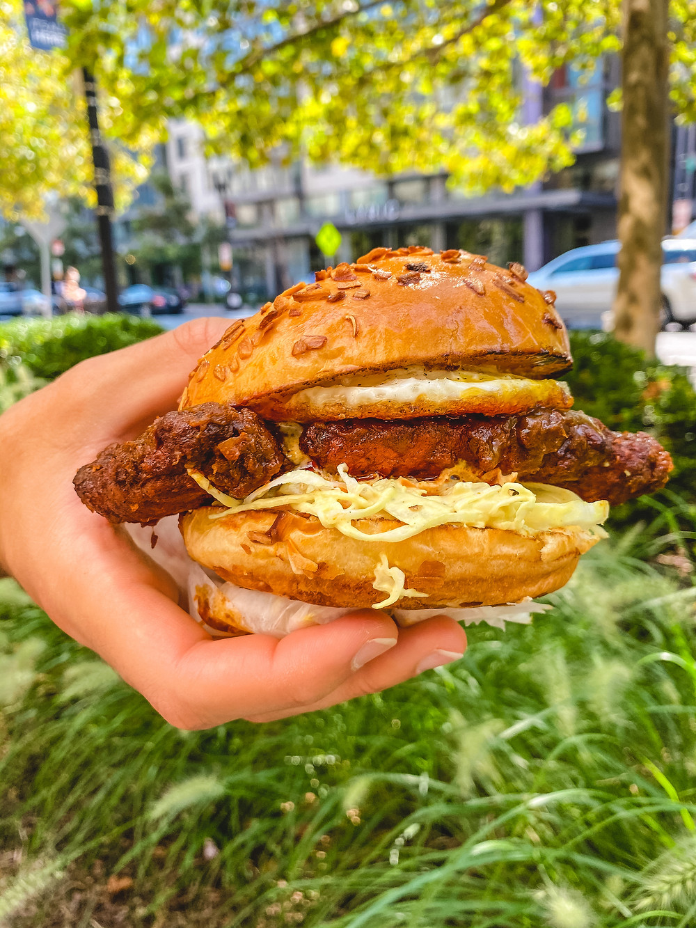 hand holding a fried chicken sandwich dipped in doro wat-style sauce in front of a grassy background