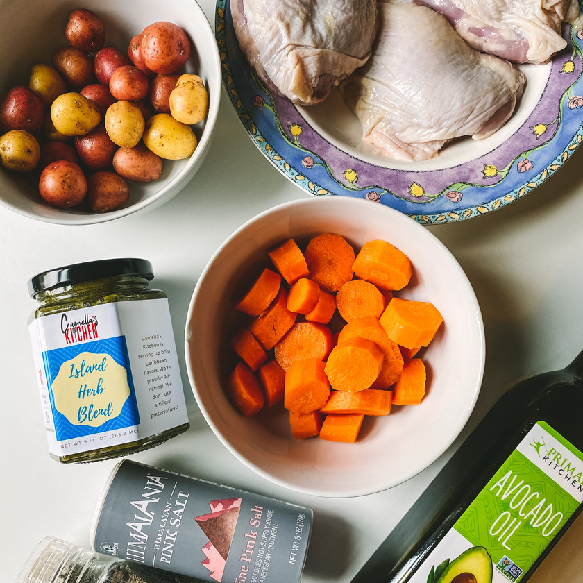 Ingredients for herby roasted chicken thighs