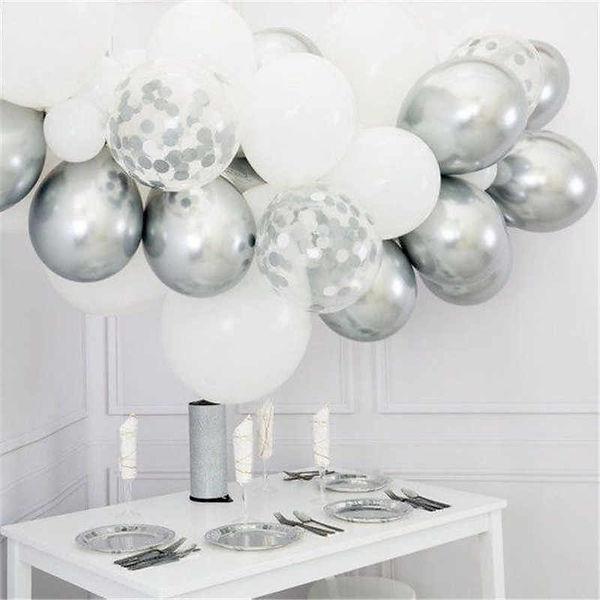 30pcs-DIY-12-inch-White-Macaron-Balloons-Gold-Silver-Chrome-Balloon-Confetti-Garland-Ballo