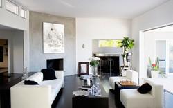 White Buddha art in living room