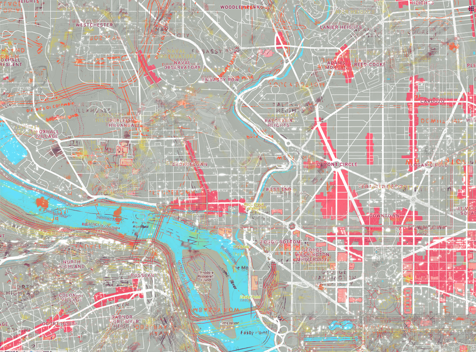 DC Map Landmarks - Grey + pink