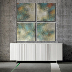 Abstracts over white cabinet