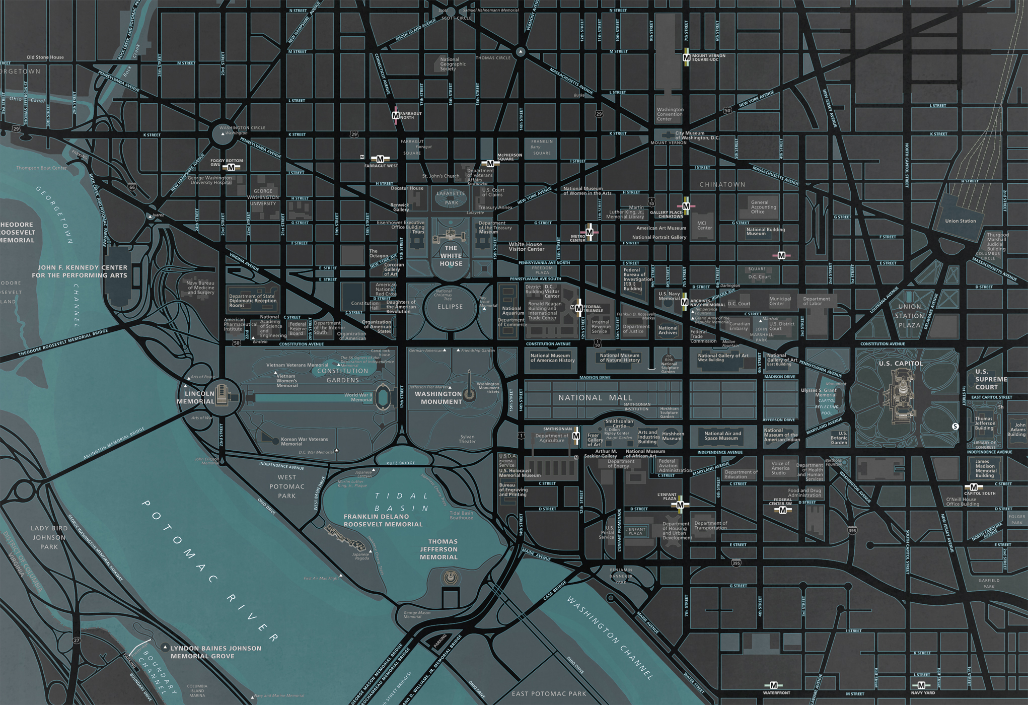 DC Map - Landmarks Inverted