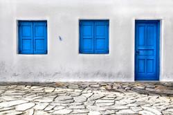 Blue Shutters of Mykonos Greece 4424