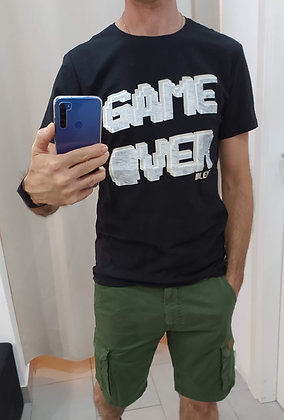 T-SHIRT NERA STAMPA GAME OVER