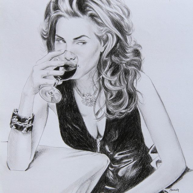 Glass of Wine (Charcoal)