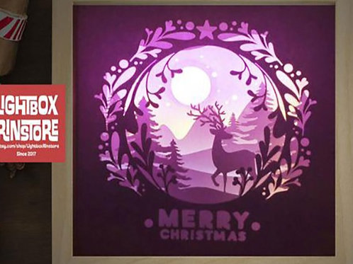 #2 Deer Christmas svg, 3D Shadow box Template SVG file