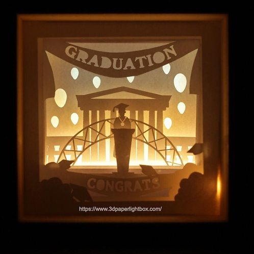 BOGO #165 Graduation ceremony Gift ,Papercut lightbox 3D Shadow box Template SVG