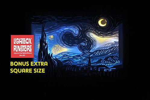 BOGO #19 Vangogh starry night svg, 3D Shadow box Template
