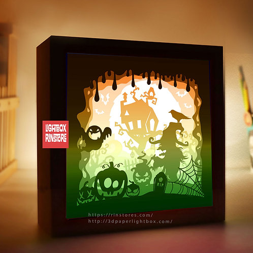 BOGO #193 Happy Halloween  svg, 3D Shadow box Template SVG files
