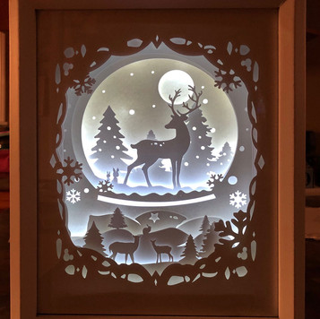 BOGO #18 Deer Spirit (Resizable) Christmas svg, 3D Shadow box Template SVG files -3D Paper Cutting Light Box SVG Template files Cricut