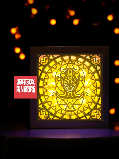 #96 AQUARIUS Zodiac Paper Lightbox Template SVG, 3D Shadow box Template
