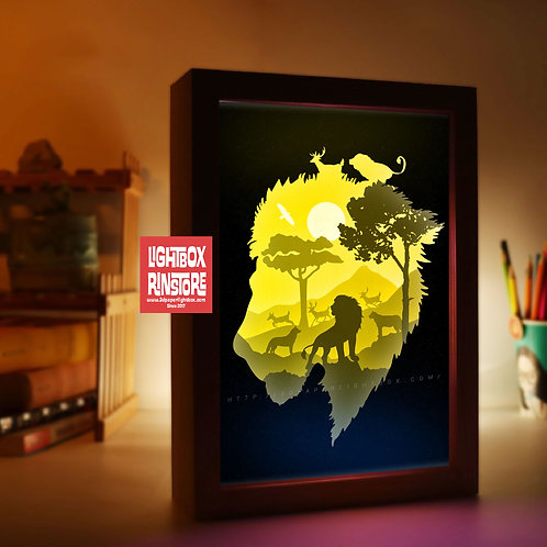 BOGO #179 Lion King paper cut lightbox  3D Shadow box Template SVG