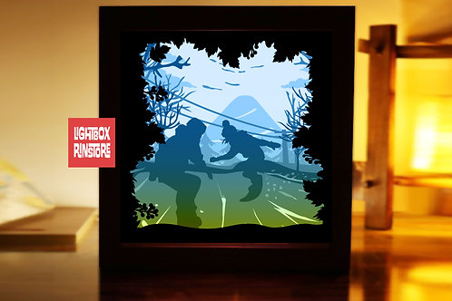 #213 Snow Board -Paper Lightbox Templates SVG 3d Lightbox