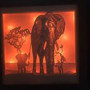 BOGO #113 Save Elephant (Resizable) Valentin svg, 3D Shadow box Template SVG files -3D Paper Cutting Light Box SVG Template files Cricut