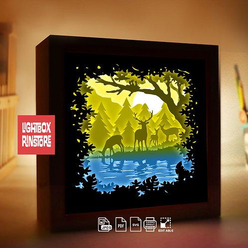 #221 Deer Spirit 3D paper lightbox template Shadow box Template SVG file