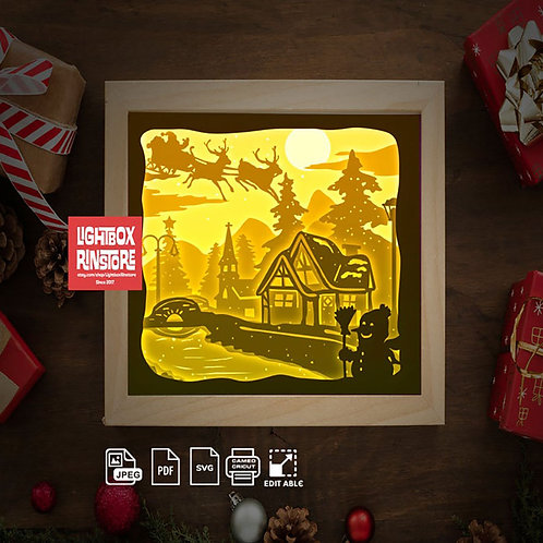 Free ship USA-Merry Xmas Santa Claus- Paper Cut Lightbox Finished Product